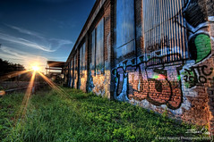 Graffiti is a 'Must' (Evan Gearing (Evan's Expo)) Tags: sunset sun building austin graffiti texas tx sunrays hdr bldg evangearingphotography evansexpo