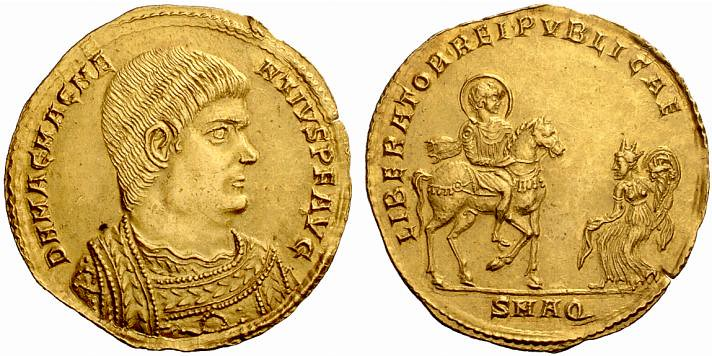 An Impressive Roman Gold Medallion of 3 Solidi of Magnetius (350-353 C.E.)