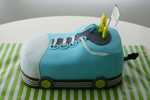 sneaker car cake, richard scarry inspired! note the little exhaust pipe! :)