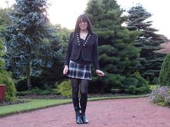 In the pines (Starrynowhere) Tags: black public tv kilt boots outdoor cd emma mini tights tgirl transvestite opaque pantyhose crossdresser starrynowhere 982010