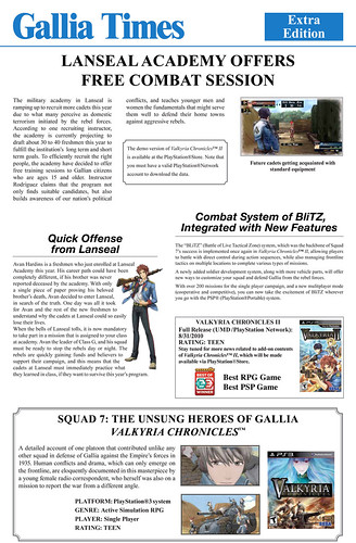 Valkyria Chronicles II Demo Newsletter