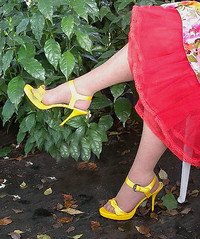 Yellow shoes in green summer garden (Sugarbarre2) Tags: show light woman sun flower feet girl mom photo big high nikon toes flash silk s skirt wife heels granny pantyhose