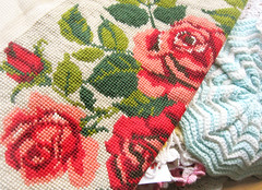 Vintage Rose Piece (Michelle Alynn) Tags: pink red green rose vintage beige needlepoint thrift unfinished pillowcase stitched find sewn crewel