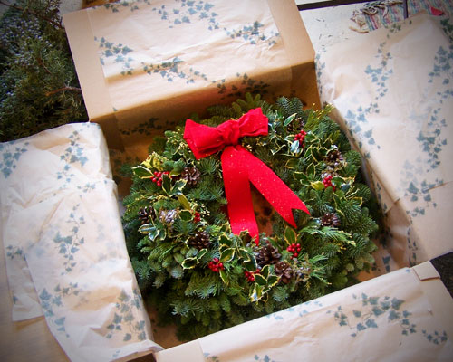 fresh wreath boxed for shipping
