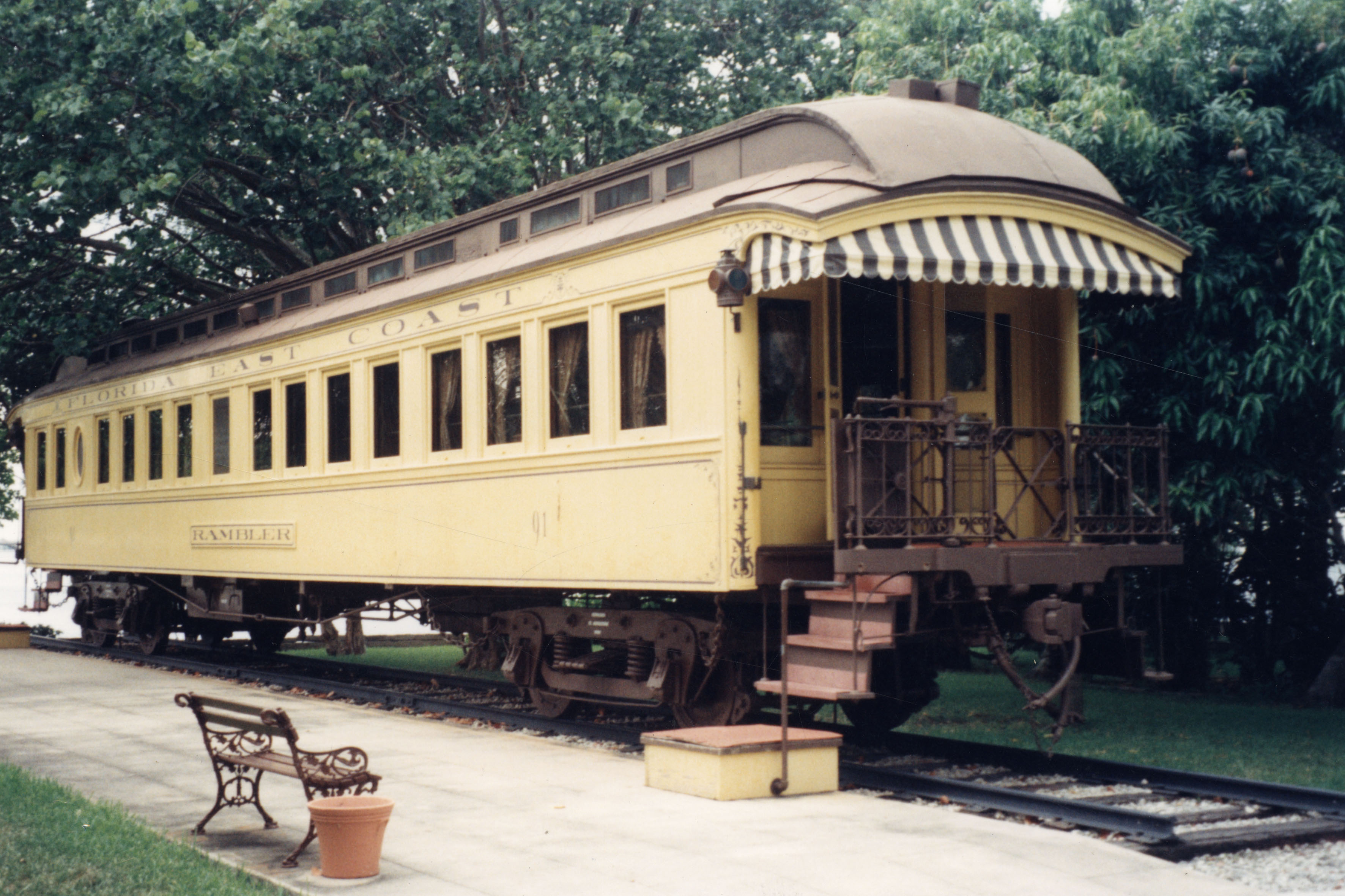 Henry Flagler's private railway car at Whitehall in 1993. Photo by Tom Hambright. Photo property of the Florida-Keys Public Library