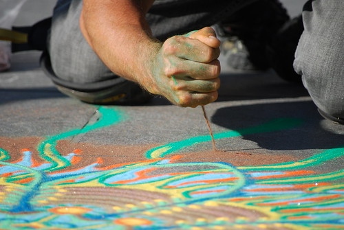 Sand Art by Joe Mangrum in Washington Square Park, New York