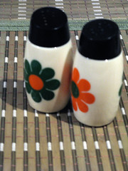 Vintage Milk Glass Salt and Pepper Shakers wit...