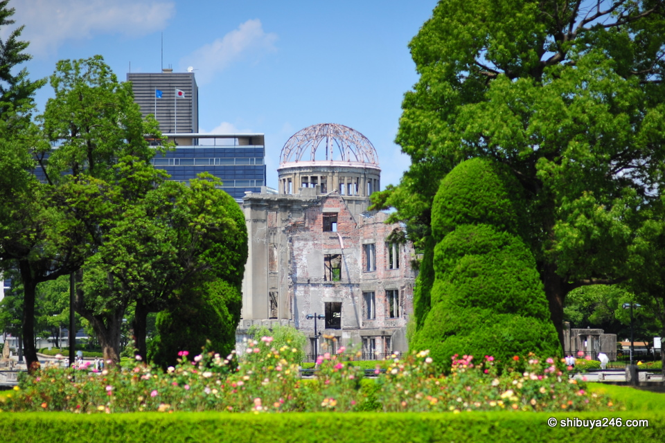 Genbaku Dome behind the park scenery