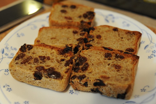 Home-made raisin bread