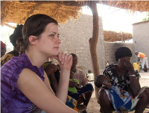 Former Montana State University student Ashley Williams meets with residents of Sanambele, Mali, to discuss water quality issues affecting the community.