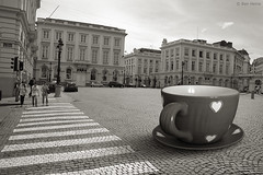 Give Me a Break (Ben Heine) Tags: street camera city morning light brussels wallpaper sky people art love cup tasse monochrome museum poster lens landscape photography focus energy europe downtown poem dof cross heart belgium belgique drink pov pavement lumire modernart surrealism perspective bruxelles manipulation coeur ciel amour mug photomontage trio conceptual wakeup copyrights rue ville faade lampadaire trottoir whitestripes vibration luminosity traverse surralisme compositeimage sepiatones theartistery renmagritte softcolor petersquinn platpays passagepiton creativecomposition benheine bonmatin flickrunited surrealcomposition samsungnx10 benheinecom