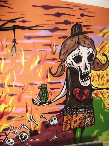 amor y odio. amor y odio. muralito realizado a aerosol en casa de un colega mural del