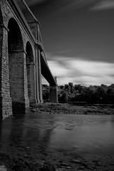 Menai Bridge (Ethan Hayes) Tags: old bridge summer sky bw cloud 6 white black water monochrome wales nikon long exposure crossing slow thomas tripod north telford stop menai wfc llandegfan d80 10stop nd110 nd10 streights