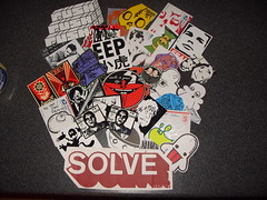 sticker montage (Nerfoner_13) Tags: graffiti peace leno vents blackbook voe nerfoner voeone