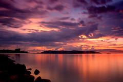 Happy Weekend. Peace. ;) (Dolly MJ) Tags: light sunset sky sun color beach water long waves expose borneo kotakinabalu redsky sabah cloudformation kk longexpose beautifulsunset oceanwaves slowwater colorfulclouds northborneo movingsky kotakinabalusunset sabahsunset sabahanphotographer borneosunset sunsetinkk beautifulkk
