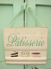 Patisserie sign (Natasha Burns) Tags: wood green sign cake vintage painting french cherries cream patisserie handpainted sweets ribbon natashaburns
