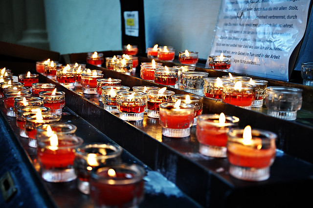candles in basilika mondsee
