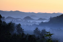 The hills of Mrauk U at dawn