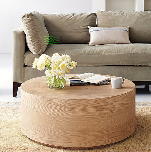 West Elm round wood coffee table