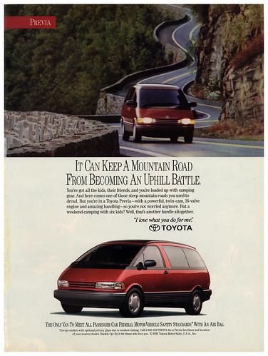 Ad - Toyota Previa Sunset Magazine 1993-05
