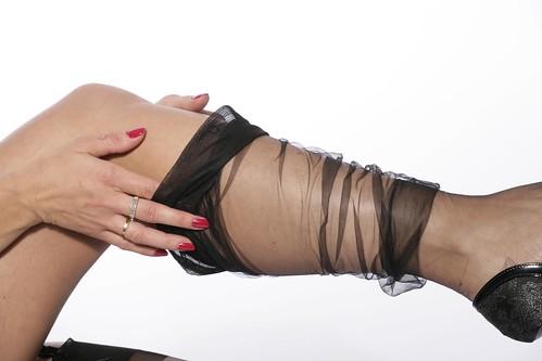 Miss in black nylon 05