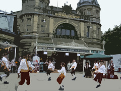 clog dancers in front of Buxton Opera House PAINTERISED by David Prime (David John Hale) Tags: buxton dancing operahouse clogdancers cloggies djh14b
