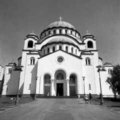 Hram Svetog Save (OverdeaR [donkey's talking monkey's nodding]) Tags: bw building 120 6x6 film church architecture canon mediumformat square temple serbia