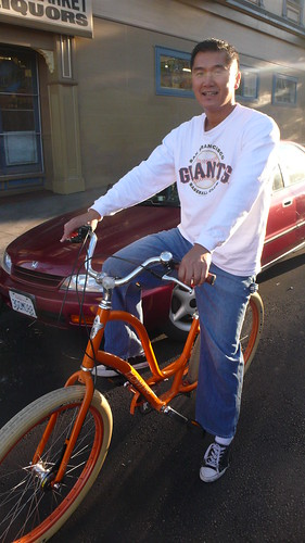George rides Giants' Orange!