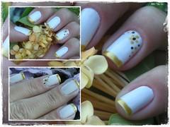unha da semana - enfermeira dourada (Mhilka ♥) Tags: art nail nailart unha esmalte colorama francesinha