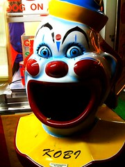 Scary clown @minnstatefair that eats garbage