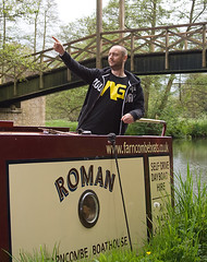 Behold the Roman (Clive Andrews) Tags: trip andy water river point boat canal roman surrey boating noodles barge wey img6372