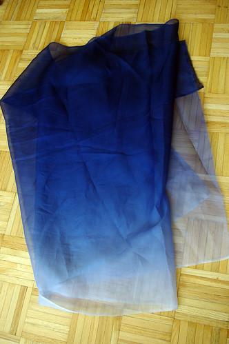 ombré blue silk organza
