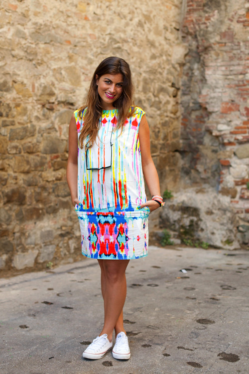 Colorful dress white converse