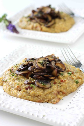 Bacon Polenta Recipe with Sauteed Crimini Mushrooms & Thyme