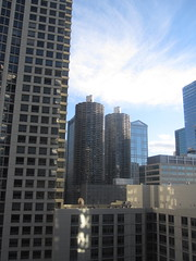 View from the pool at Hotel Palomar (All About Eve) Tags: voyage city trip vacation chicago hot art pool comfortable architecture bathroom hotel vacances illinois bedroom view room terrasse 1025 palomar chambre vue minibar hospitality ville piscine kimpton htel hotelliving hospitalit hotelpalomar palomarhotelchicago