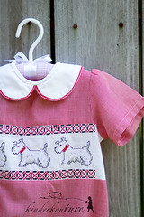 Boys Red Gingham Scottie Bubble
