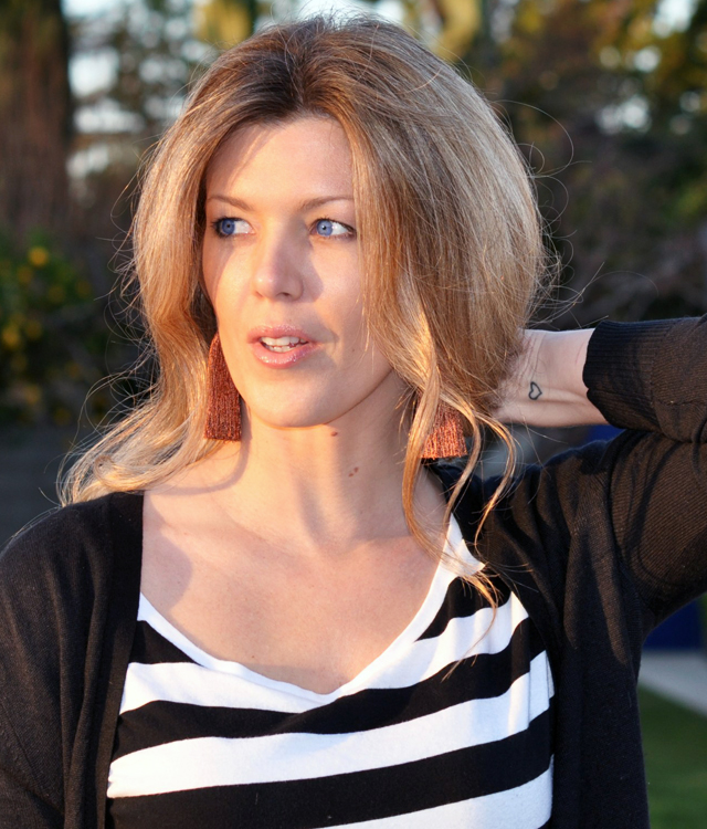 blue eyes, striped shirt, heart tattoo, wrist tattoo, tassel earrings, los angeles blogsDSC_0064