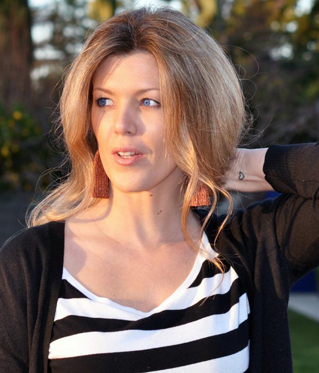 blue eyes, striped shirt, heart tattoo, wrist tattoo, tassel earrings, los angeles blogsDSC_0064