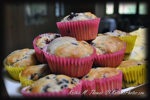 Fresh hot blackberry muffins