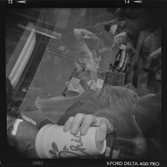 Multiple faces (Julio Barros) Tags: bw 120 film holga faces iso400 delta pro medium format ilford develop multipleexposures
