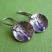 Hammered Silver and Amethyst Earrings