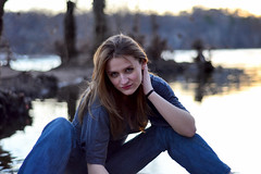 Down By The Bank (nmp.hotography) Tags: light sunset portrait sky woman tourism water beauty smile smiling river advertising photography 50mm virginia canal model eyes nikon friend sitting photographer dof bokeh maria richmond depthoffield commercial sit f18 seated rva jamesriver nmp nmphotography d3100