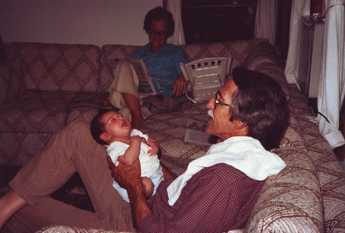 1 month old, with my grandparents