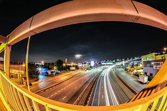 fisheye urban view (I was blind now I see!) Tags: canon5d 15mm fisheye car trails light long exposure clouds moon fast movement bent view landscape vehichles edmonton london railings bridge night stars astrophotography curved