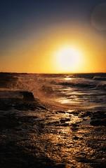 Tides & Waves .. (Hazem Hafez) Tags: sea cliff edge waves sun sunset beach tide water rock yellow sand egypt coast summer