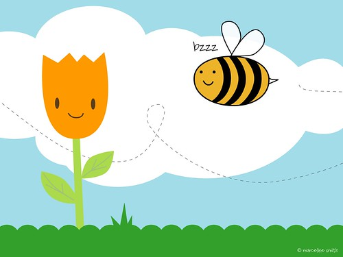 Bee & Tulip Desktop Wallpaper