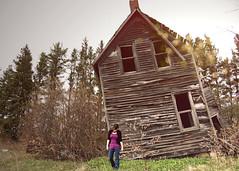 glamorous (tinyearthquakes) Tags: trees windows house selfportrait abandoned girl spring bokeh 2010