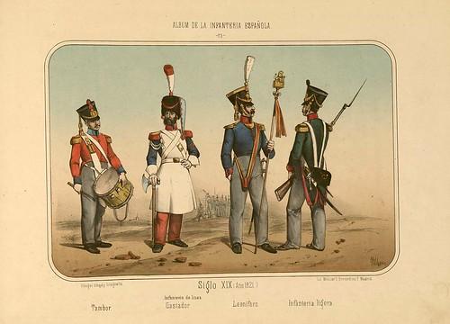 020- Álbum de la Infantería Española..-1861- conde de Clonard