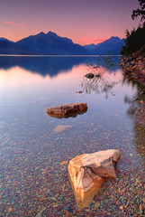 Too Late for Alpenglow (SheldonBranford (RichGreenePhotography.com)) Tags: sunset sky lake mountains reflection water clouds still montana rocks view glaciers glaciernationalpark glacierpark lakemcdonald 0831 3exposure 0833 nikond80 0832 richgreenephotography