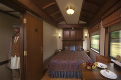 Bedroom with Double Bed on a Luxury Train (Train Chartering & Private Rail Cars) Tags: indiantrain privatetrain privaterailcar chartertrain traincharter trainchartering privatecarriage luxurytravel luxurytrain luxurytrainclub indianluxurytrain maharajasexpress